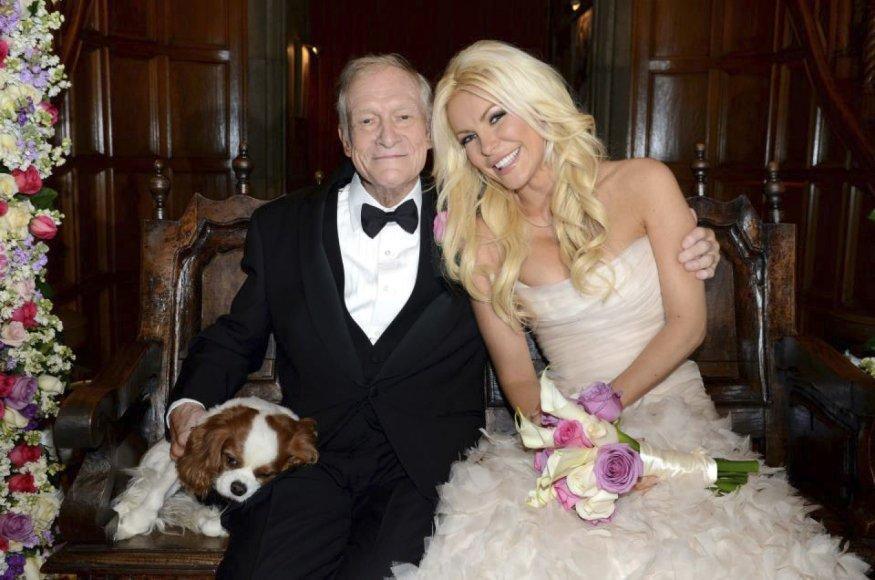 Hugh Hefneris su trečiąja žmona Crystal Harris