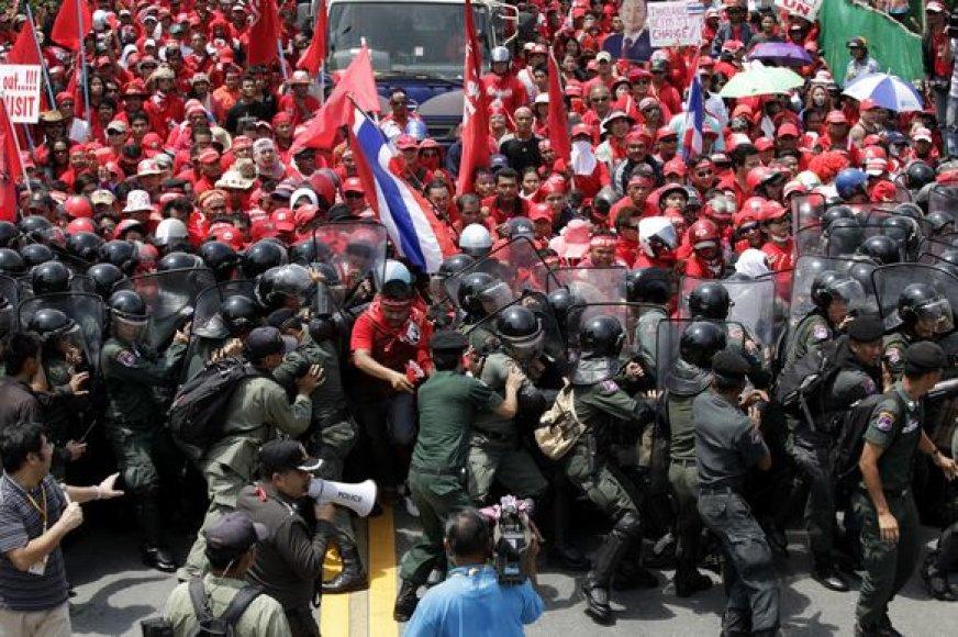 Policininkų ir protestuotojų susirėmimas