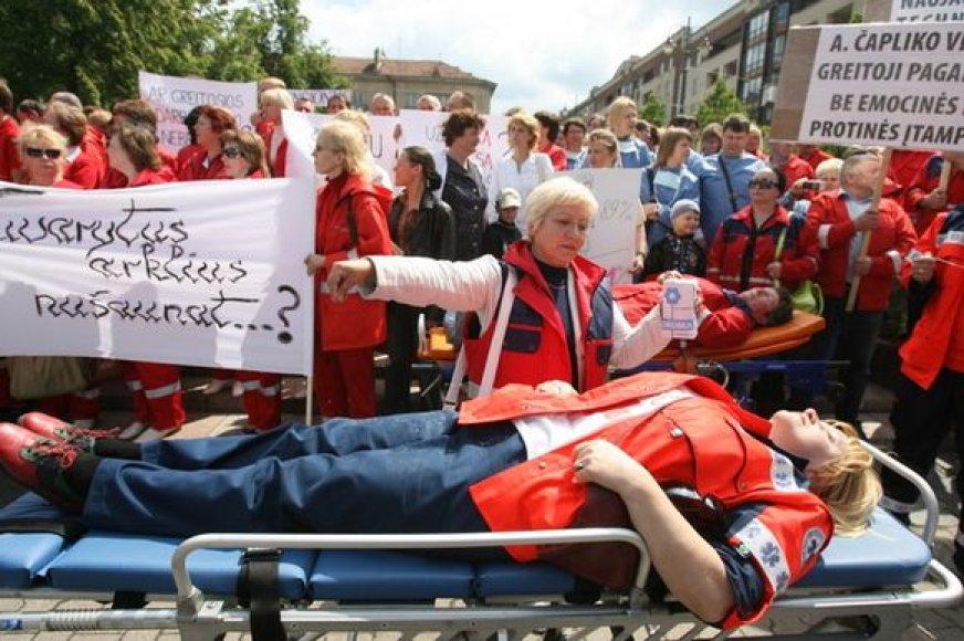 Medikų protesto akcija