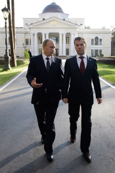V.Putinas ir D.Medvedevas prezidentinėje rezidencijoje