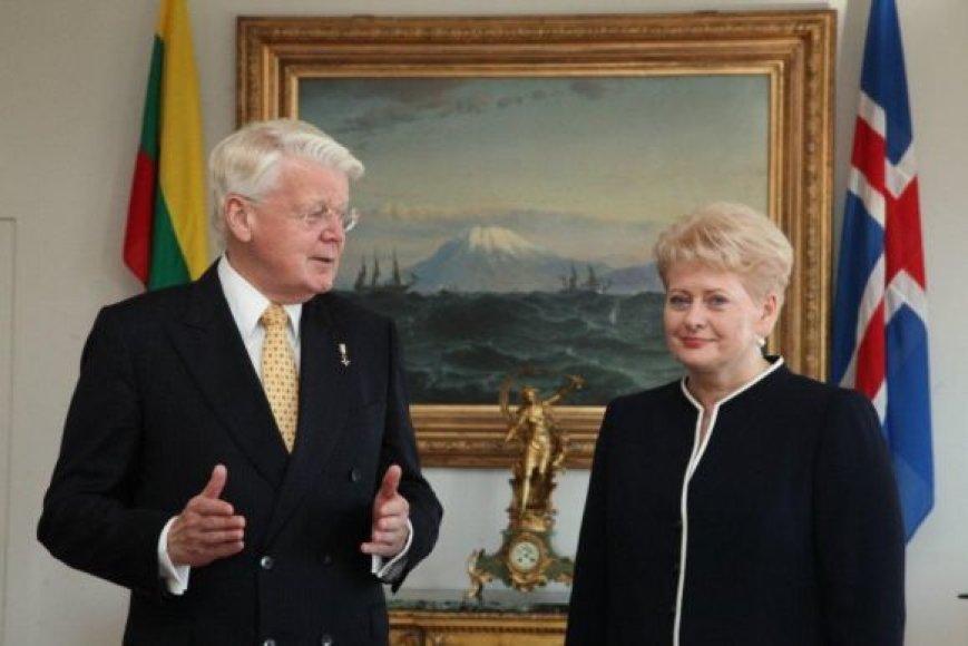Islandijos Prezidentas Ólafuras Ragnaras Grímssonas ir Dalia Grybauskaitė