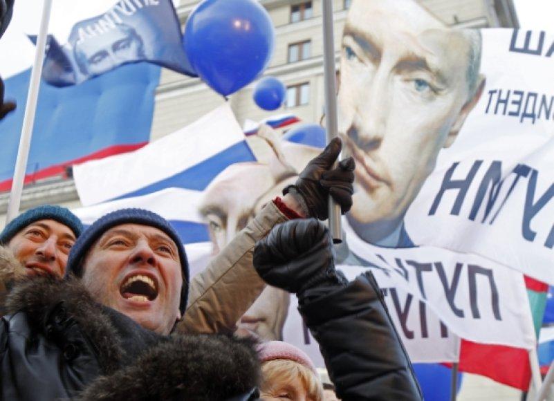 Vladimiro Putino šalininkų mitingas Maskvoje