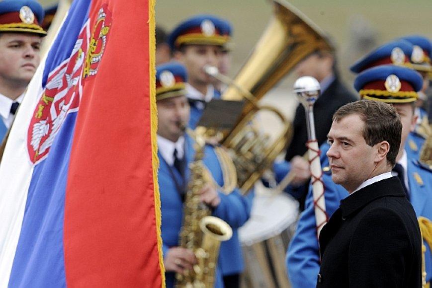 Dmitrijus Medvedevas antradienį apsilankė Serbijoje