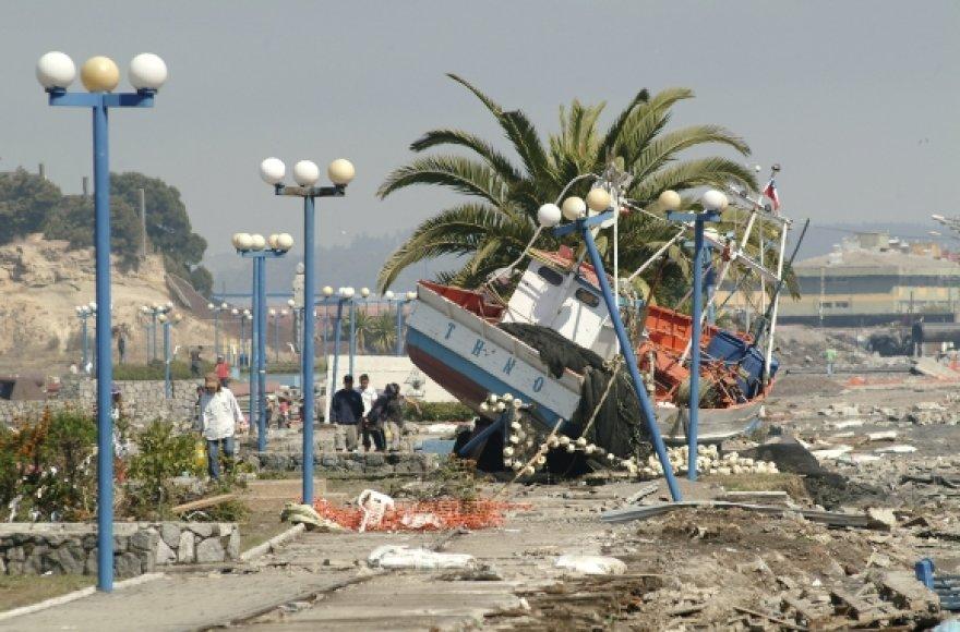 Smarkiausiai cunamio banga smogė pačios Čilės pakrantei. Nuotraukoje – Talkahuano uostas.