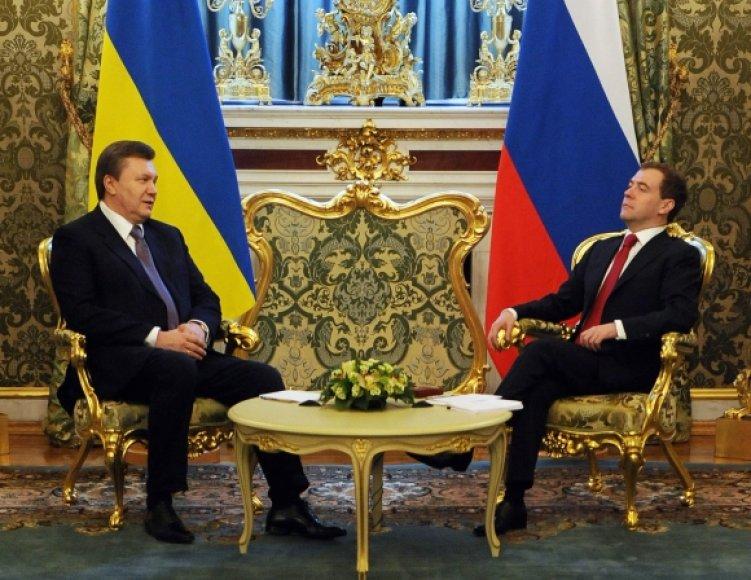 Viktoras Janukovyčius (dešinėje) susitiko su Dmitrijumi Medvedevu.