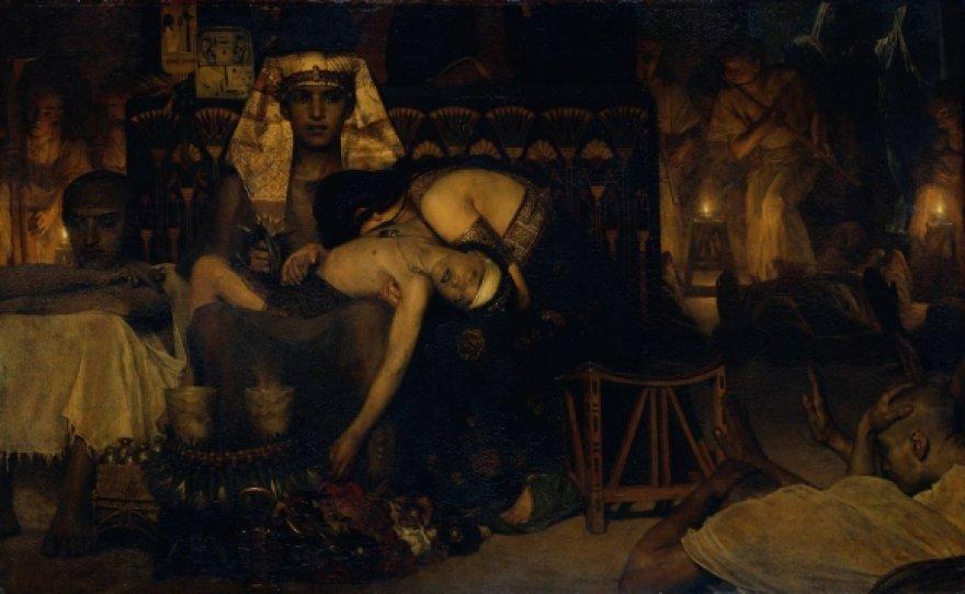 """Lawrence'o Alma-Tadema paveikslas: """"Faraono pirmagimio mirtis"""" (1872 m.)"""