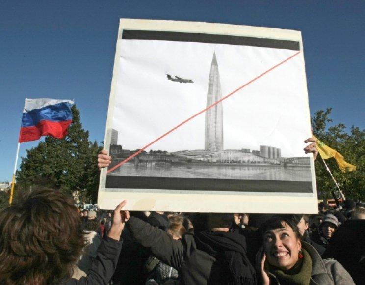 """""""Ochta-centro"""" statybos sulaukė daugybės Sankt Peterburgo gyventojų protestų."""
