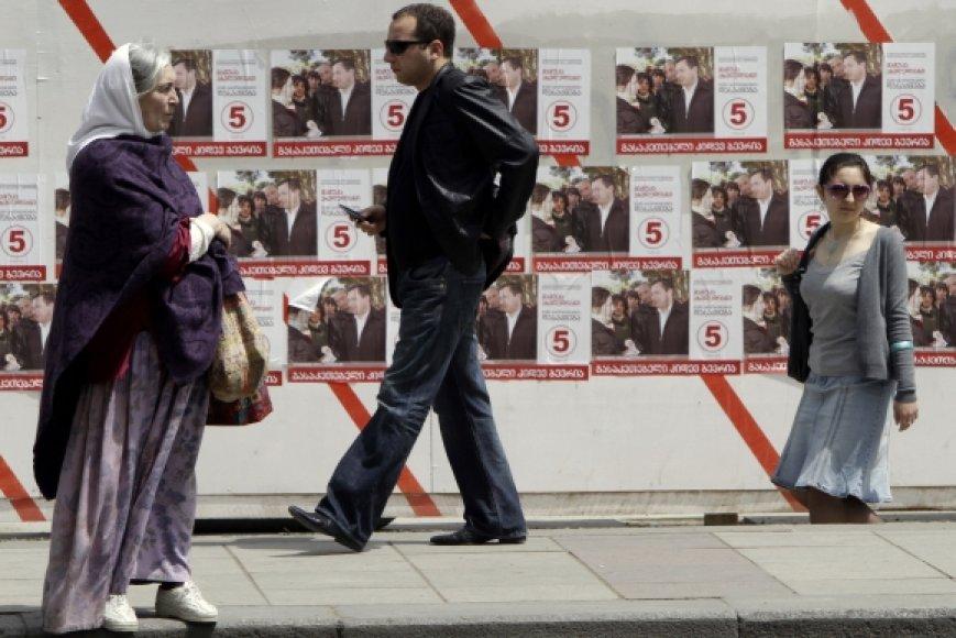 Rinkimų agitacija Tbilisio gatvėse