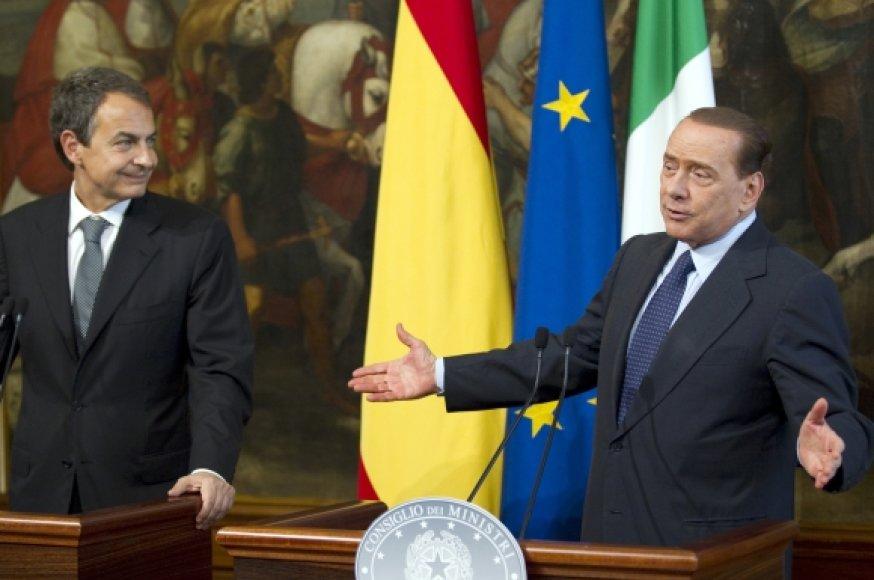 Jose Luisas Zapatero (kairėje) ir Silvio Berlusconi