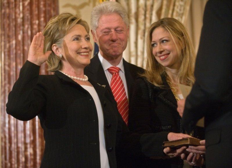 Chelsea Clinton su tėvais
