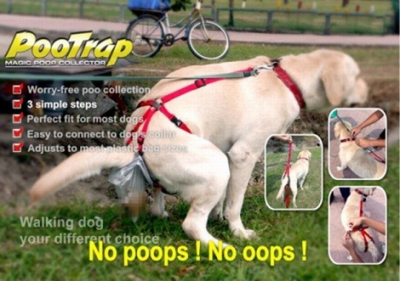 Kai šuo atlieka savo reikaliukus, maišelis su ekskrementais nukabinamas ir išmetamas.