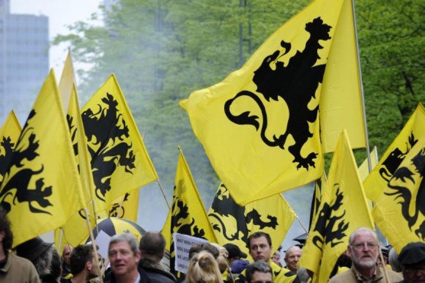 Flamandų separatistai žygiuoja Briuselio gatvėmis.