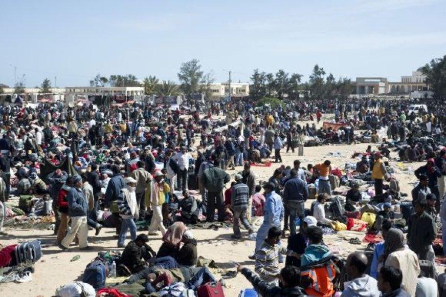 Pabėgėliai iš Libijos Tunise