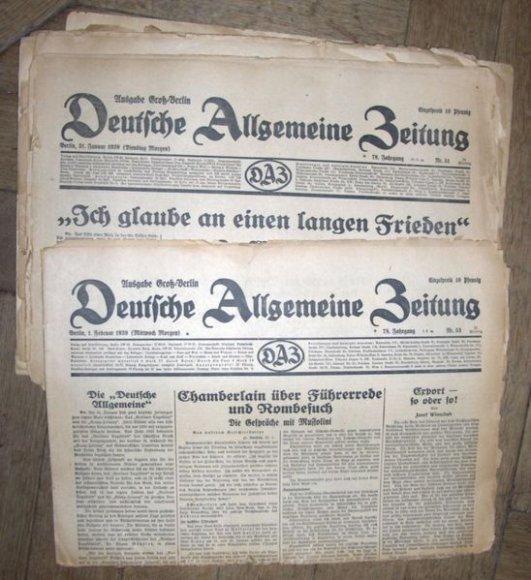 """1939-ųjų """"Deutsche Allgemeine Zeitung"""" numeriai"""