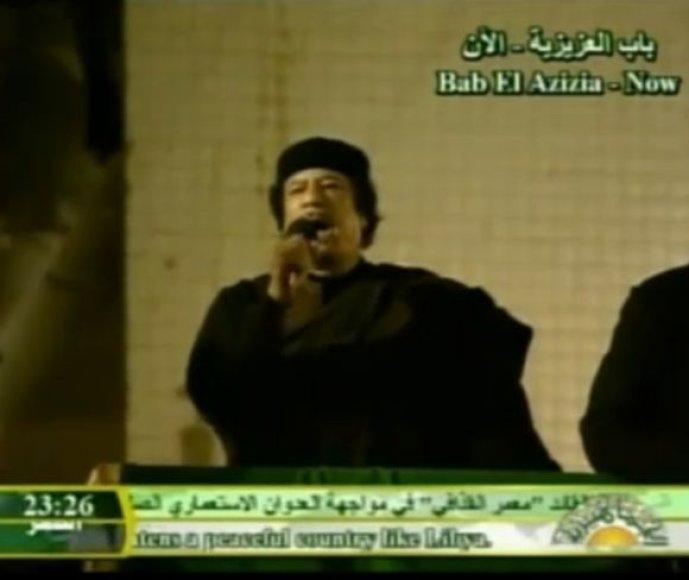 Muamaras Kadhafi drąsina savo šalininkus.