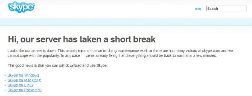 Tokį vaizdą matė į skype.com užsukę lankytojai.
