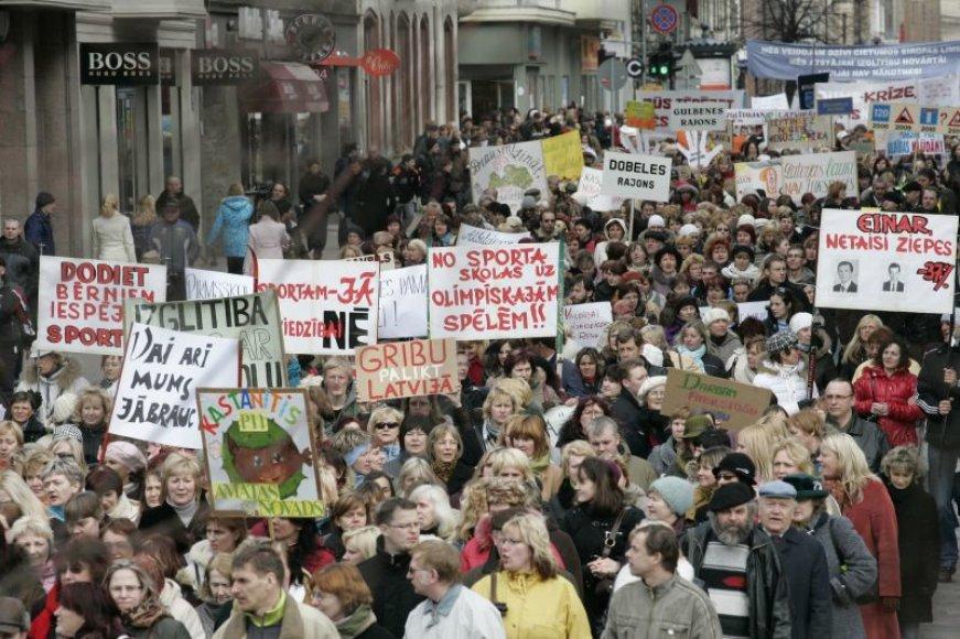 Mokytojų protestas Rygoje