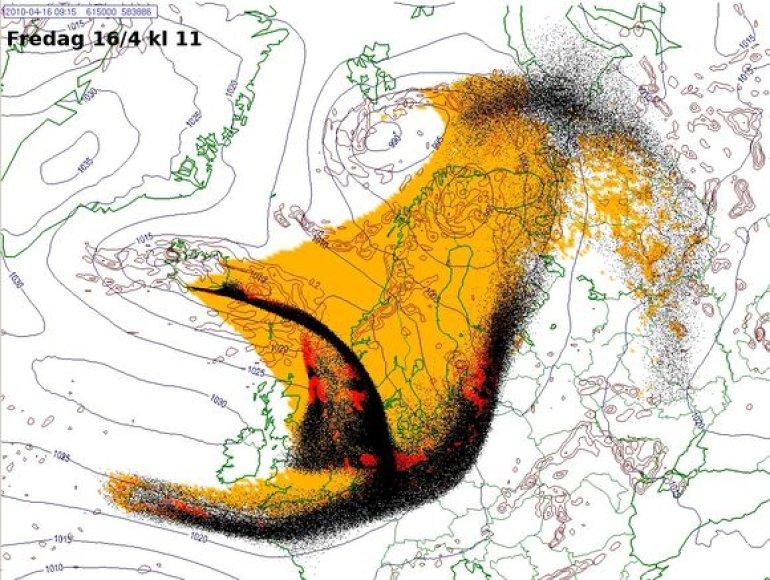 Norvegų meteorologai prognozuoja, kad pelenų debesis iš Islandijos pasieks ir Lietuvą.