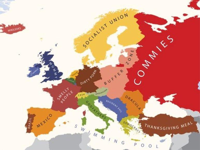 Taip atrodo Europos žemėlapis, sudarytas pagal JAV gyventojų turimus stereotipus