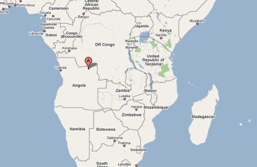 Žemėlapyje pažymėta Lunda Norte provincija, kurioje labiausiai baiminamasi Ebolos viruso protrūkio.