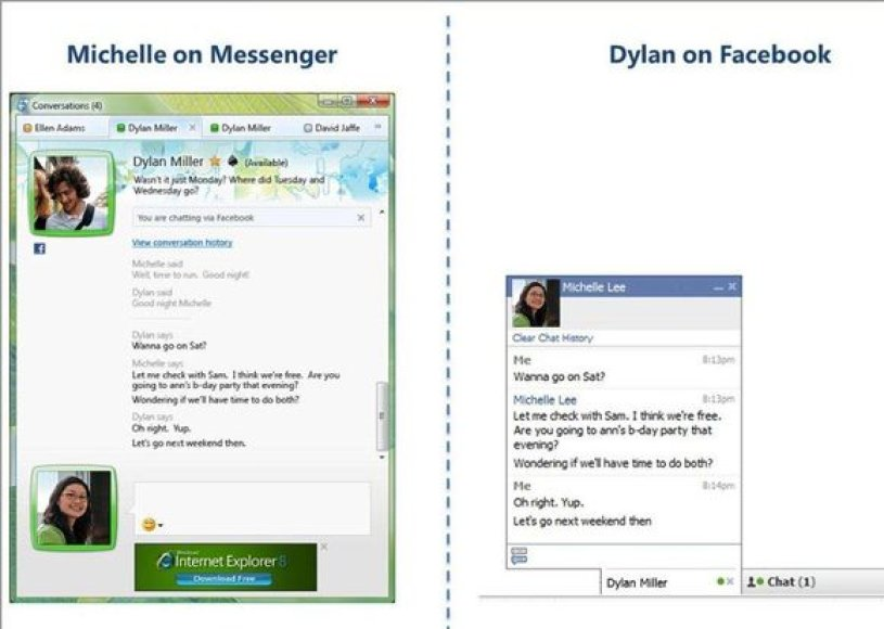 """Windows Live Messenger"" sujungtas su ""Facebook"""