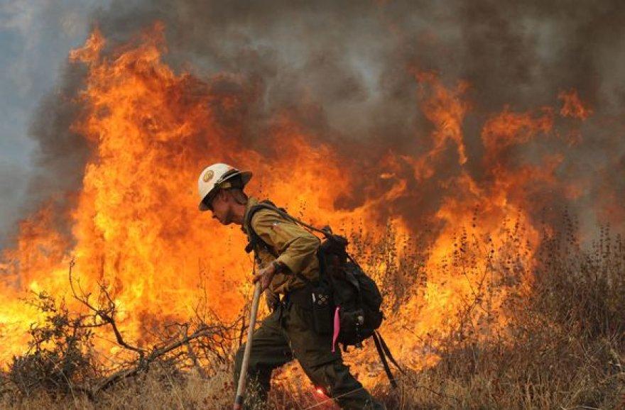 Ugnis liepsnoja jau visai prie pat Los Andželo priemiesčių namų.