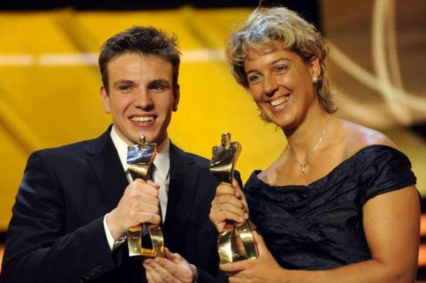 Steffi Nerius ir Paulas Biedermanas apdovanojimo ceremonijos metu