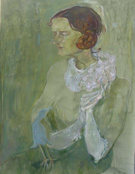 Beatričės Grincevičiūtės portretas su Lauros Karnavičiūtės rankomis tapė Grytė Pintukaitė - Valečkienė al.drob 20w.