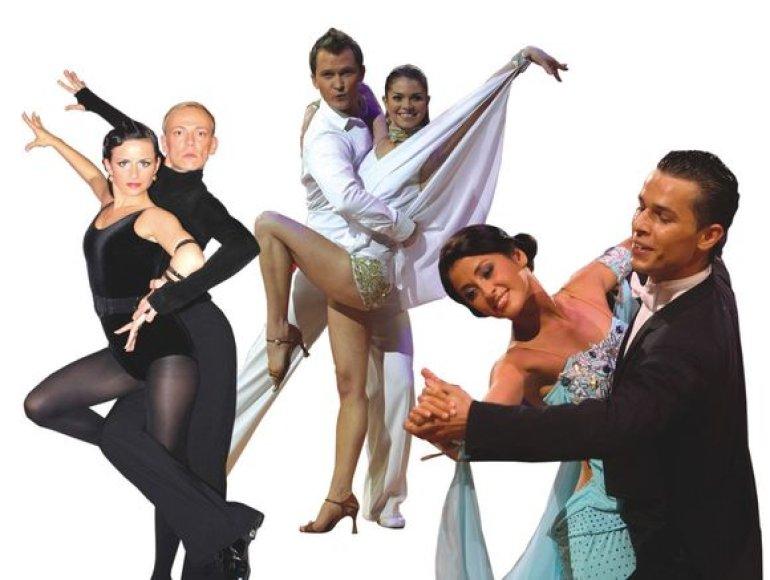 """Spektaklio """"Šokit su mumis"""" šokėjų poros"""