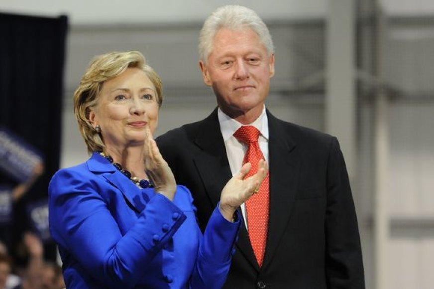 JAV prezidentas Billas Clintonas su žmona Hillary Clinton