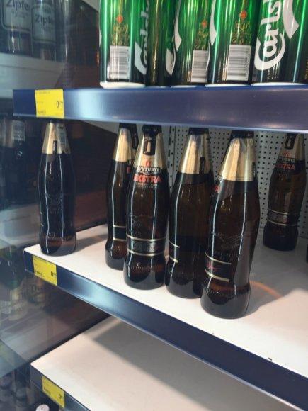"""15min.lt skaitytojo nuotr./Didžiausiame prekybos tinkle """"Maxima"""" jau netrukus gali nelikti """"Švyturio-Utenos alaus"""" produkcijos."""