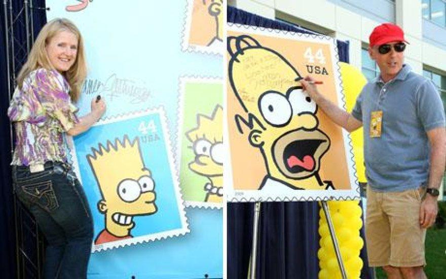 JAV pašto ženklus papuoš Simpsonų atvaizdai.