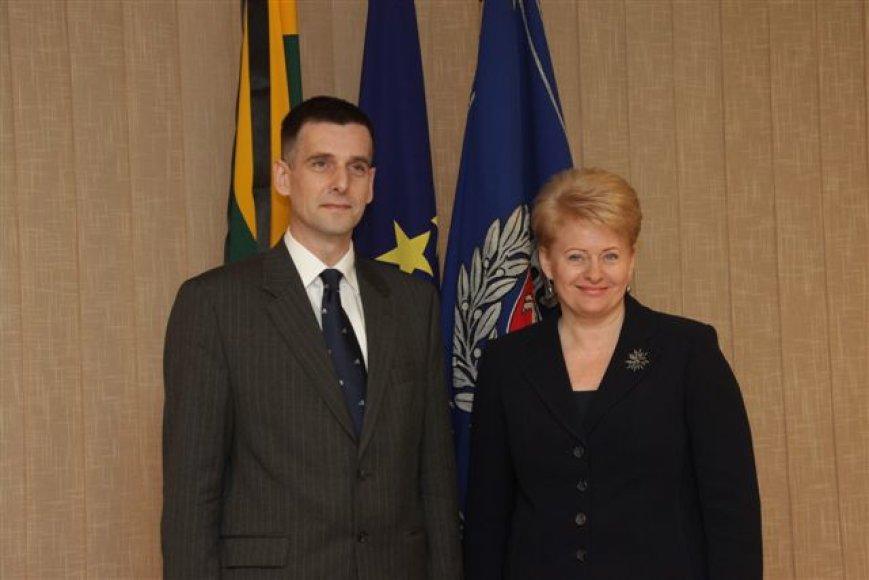 Dalia Grybauskaitė ir naujai paskirtas VSD vadovas Gediminas Grina