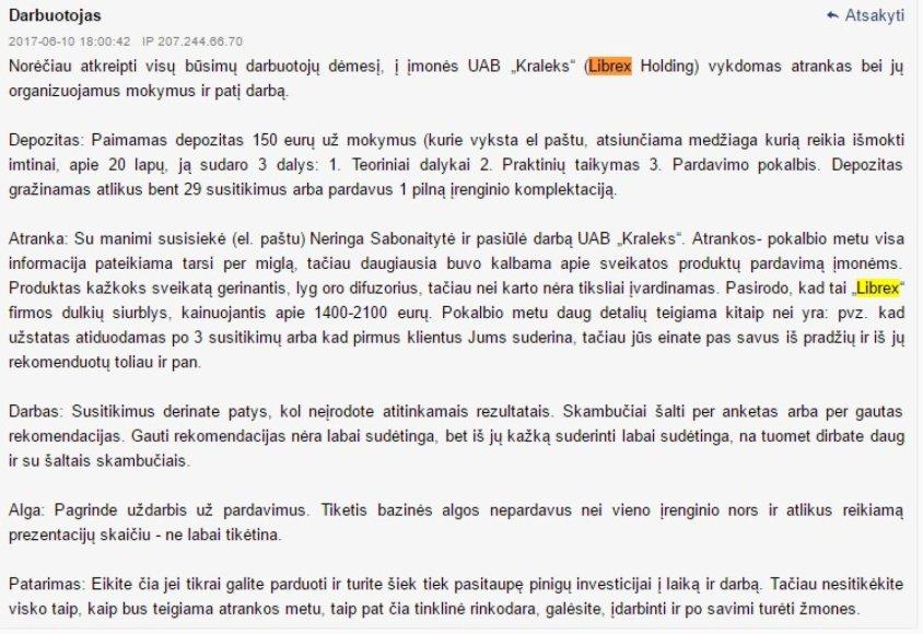 """Rekvizitai.vz.lt nuotr. /Darbuotojo atsiliepimas apie UAB """"Kraleks"""""""