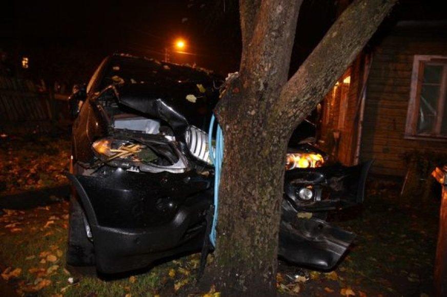 BMW trenkėsi į medį.