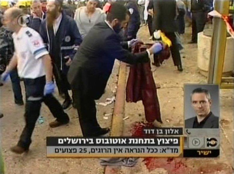 Sprogimas Jeruzalės autobusų stotelėje