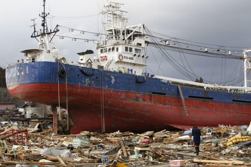 """Į krantą išmestas laivas """"Kyotoku-maru"""""""