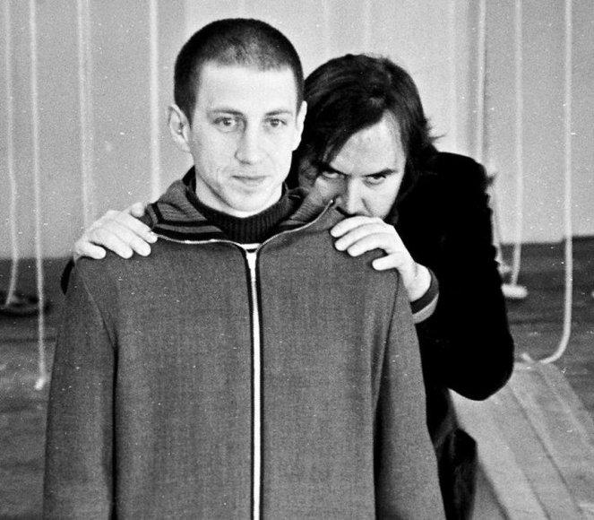"""Spektaklio """"Katedra"""" repeticijose Marius Repšys ir Oskaras Koršunovas"""