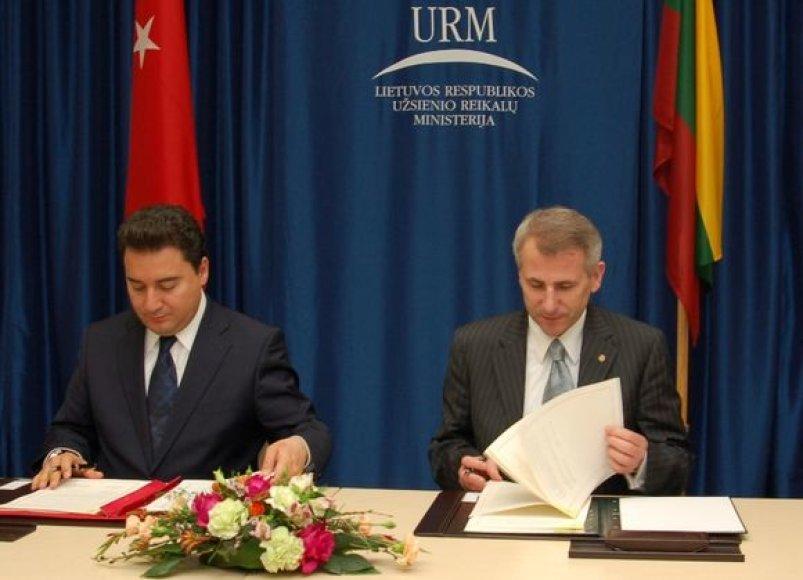 Užsienio ministro Vygando Ušacko ir užsienio reikalų ministro Ali Babacano susitikimas