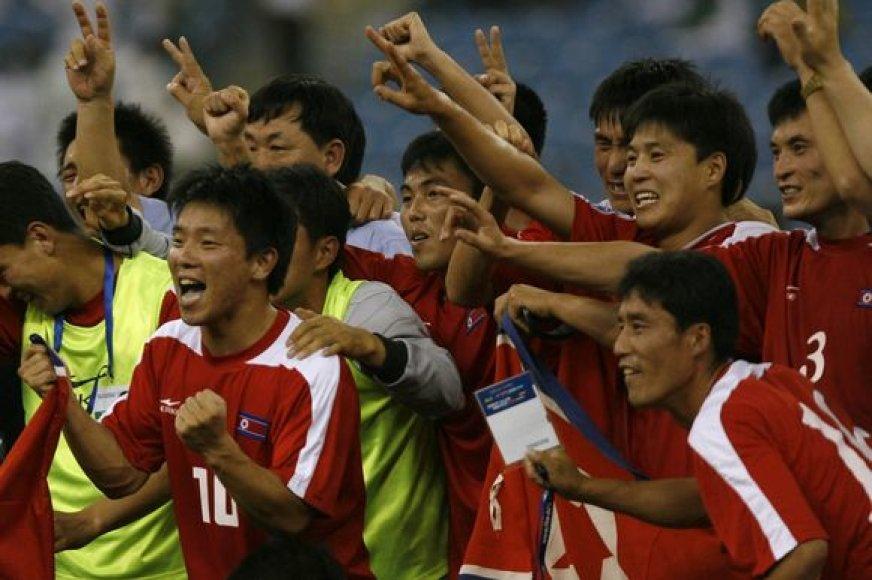 Šiaurės Korėjos futbolininkų džiaugsmas