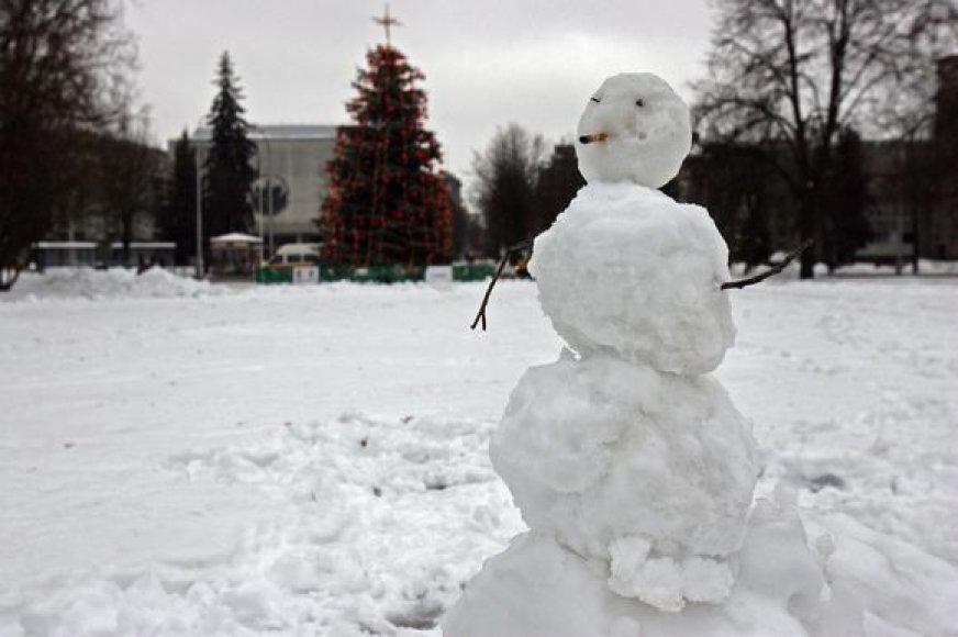 Sniege paskendusią Vienybės aikštę kol kas puošia tik besmegeniai.
