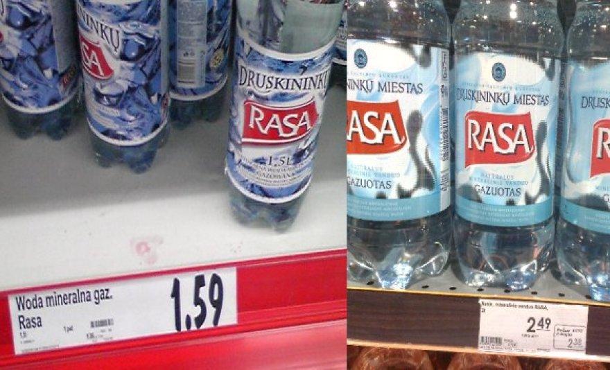 Nei juoktis, nei verkti: tą patį lietuvišką produktą lietuviai lenkams (nuotr. kairėje) sugeba pardavinėti 1,5 karto pigiau nei tautiečiams.