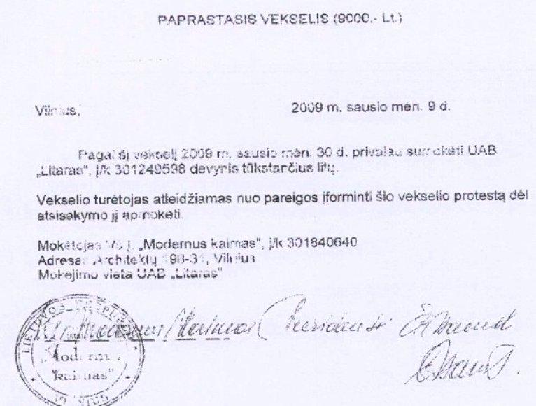 Norėdama išvengti teismo, Č.Stanul pasirašė vekselį, kuriuo pripažino 9000 litų skolą.