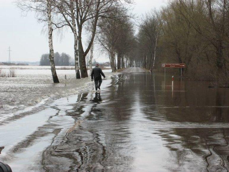 Situacija potvynio zonoje ties Rusnės sala šeštadienio popietę