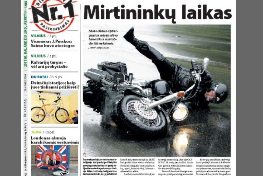 """Dienraščio """"15min"""" viršelis penktadienį tapo pranašiškas. Tądien šalyje žuvo vienas, šeštadienį – dar du motociklininkai. Neoficialiais duomenimis, tai trys pirmosios šio sezono aukos."""