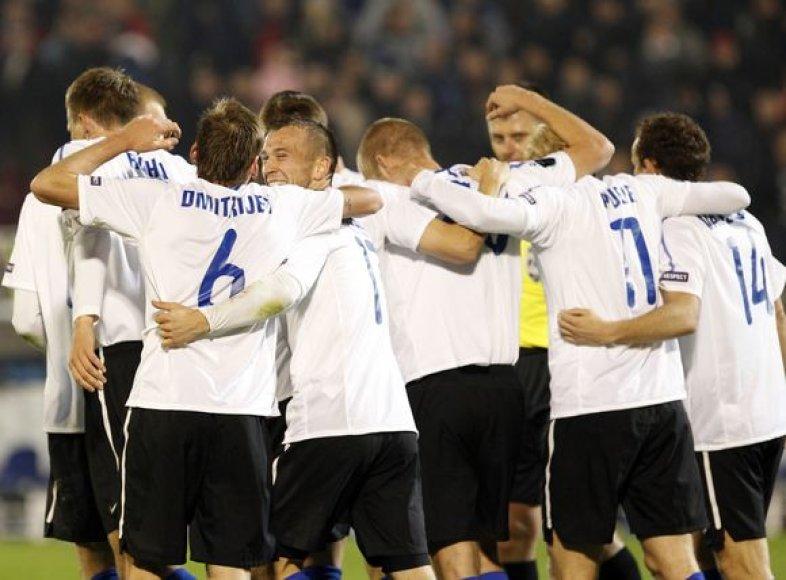 Estijos žaidėjai džiaugiasi pergale