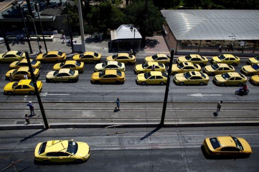 Taksistų protestas Graikijoje