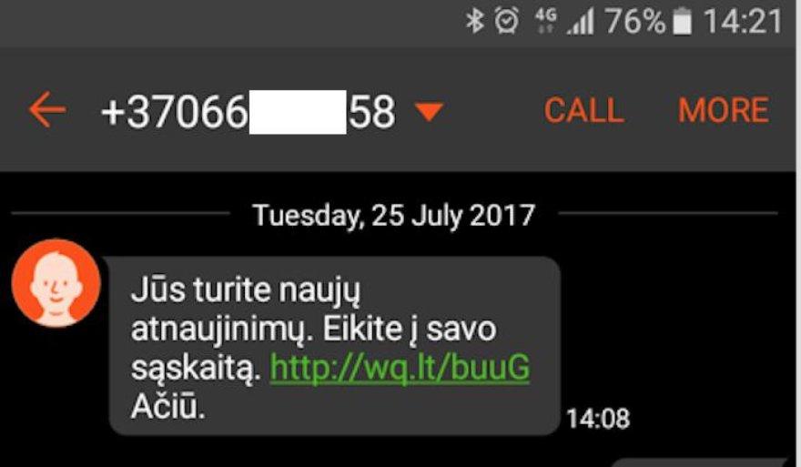 RRT iliustracija/Sukčiavimas SMS žinute