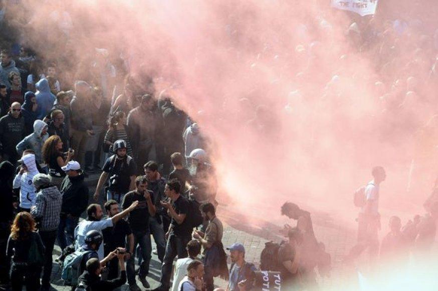 Protestuotojai Romos gatvėse