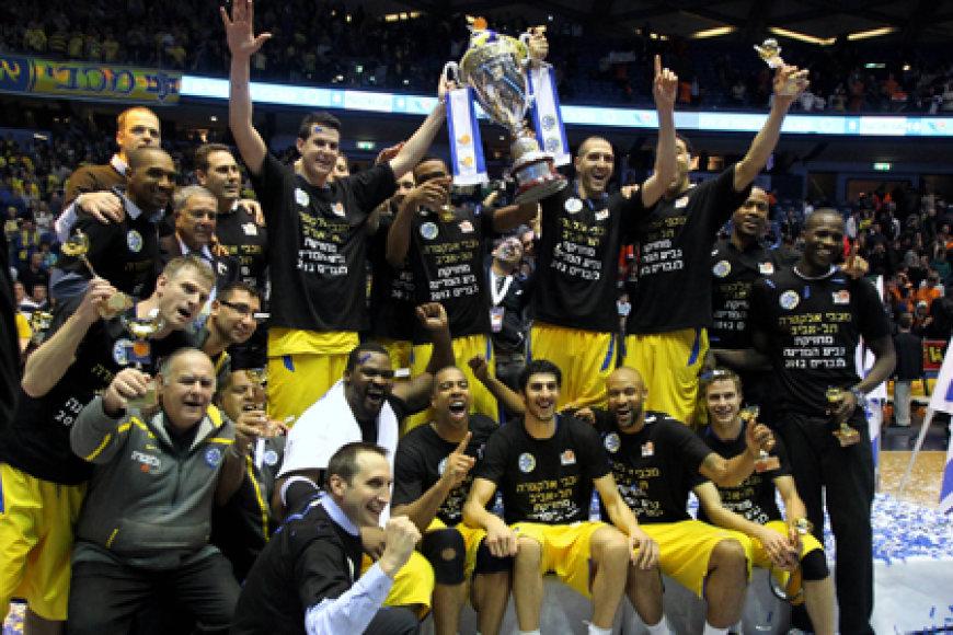 """""""Maccabi"""" džiaugsmas laimėjus Izraelio taurę."""